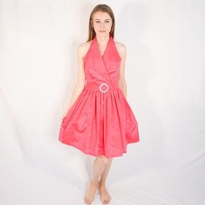 VINTAGE 90s Barbie Pink Taffeta Halter Flare Dress